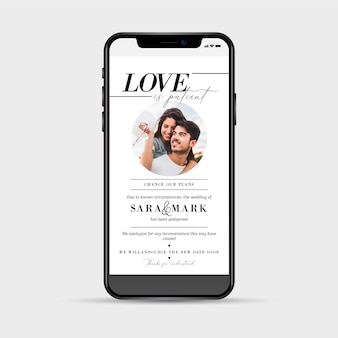 Postponed wedding announcement smartphone concept