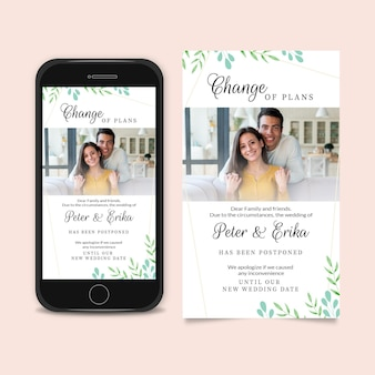 Postponed wedding announcement smartphone screen format