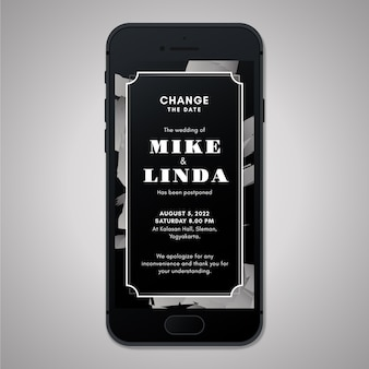 Postponed wedding announcement on smartphone screen format