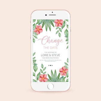 Postponed wedding announcement on smartphone screen format
