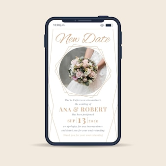 Postponed wedding announcement with smartphone