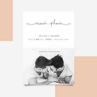 Postponed wedding card concept
