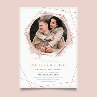 Postponed wedding card design