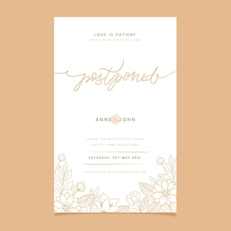 Postponed wedding card draw