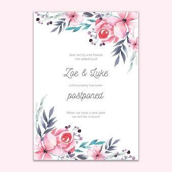Postponed wedding card floral design