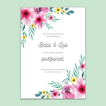 Postponed wedding card floral style