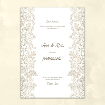 Postponed wedding card hand drawn design