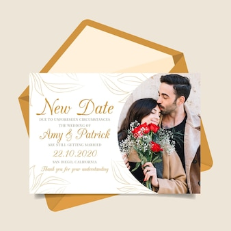 Postponed wedding card template with photo Free Vector