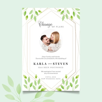Отложенный шаблон свадебной открытки с фото