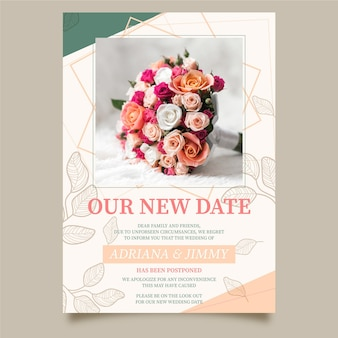 Postponed wedding card template with photo
