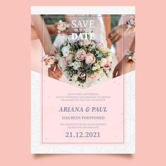 Postponed wedding card template