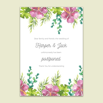 Postponed wedding card watercolor design