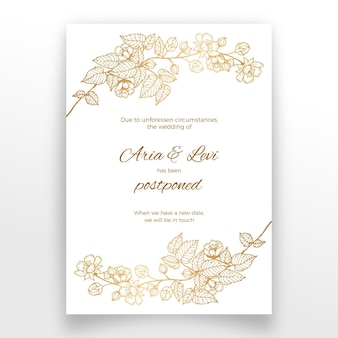 Postponed wedding card with golden flowers