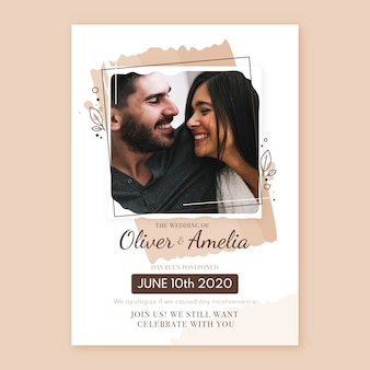 Postponed wedding card with photo