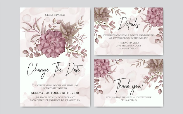 Postponed wedding card with watercolor floral set