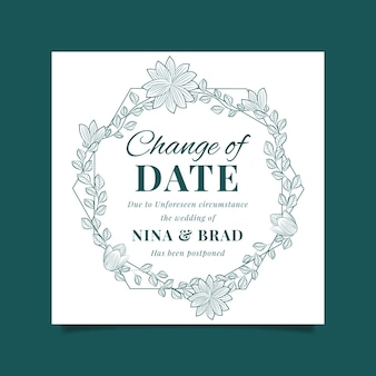 Postponed wedding card