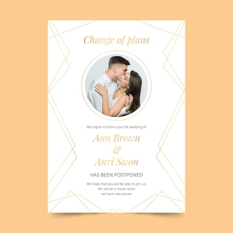 Postponed weeding card concept