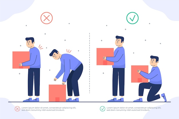 Design piatto infografica per la correzione della postura