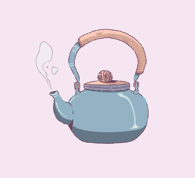 Горшок каракули ручной стиль. иллюстрация чайника