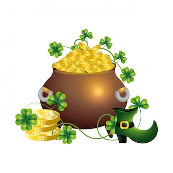 Pot gold clover and wealth