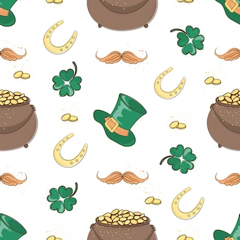 Pot of gold saint patrick's day seamless pattern