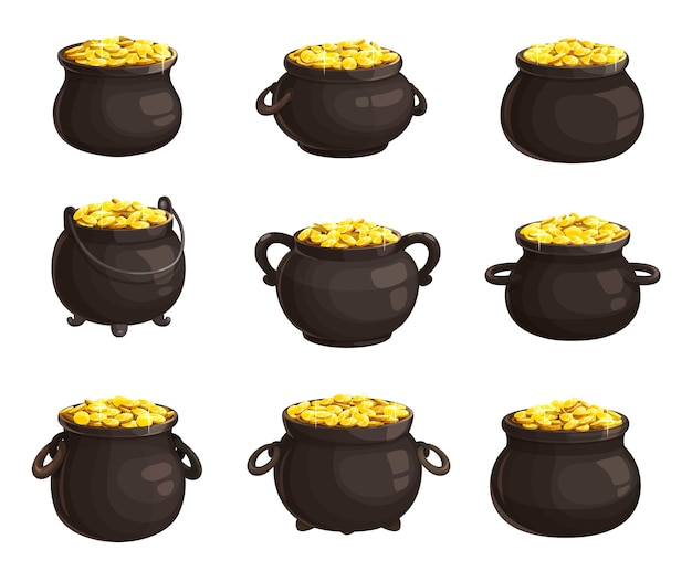 Pot of golden coins isolated icons of st. patricks day. cartoon different cauldrons full of golden coins. leprechaun treasury, patricks day holiday symbols. iron pots with handles