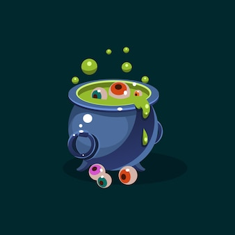 Pot of green potion and eyes illustration