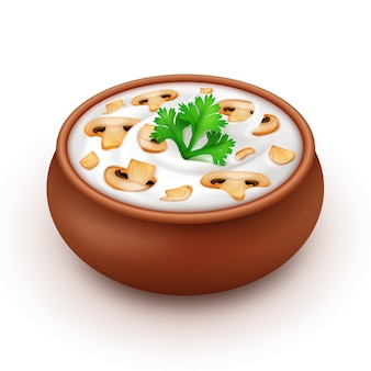 Pot of mayonnaise with parsley and champignons