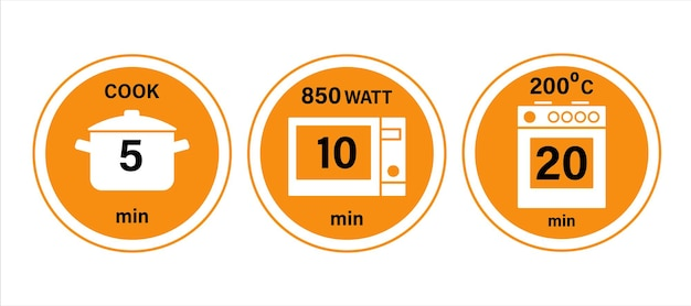 Pot microwave and oven cooking instruction symbols 51020 minutes vector illustration