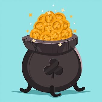 ゴールドコインとシャムロックの図の鍋