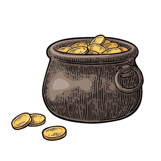 Горшок с золотыми монетами. векторная гравировка старинные цветные иллюстрации, изолированные на белом фоне.