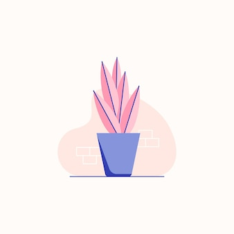 Pot plant flat illustration with pastel colors