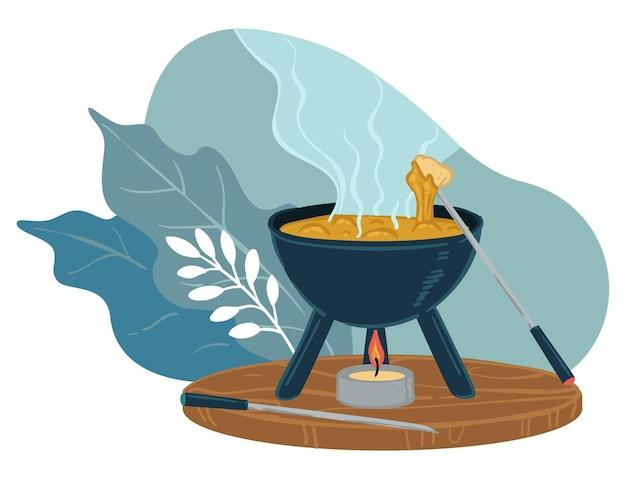 치즈와 함께 끓는 요리 수프와 냄비입니다. 레스토랑 저녁 식사, 가마솥 및 불꽃. 집에서 만든 맛있는 음식, 영양가 있는 식사. 식당이나 카페에서 중국 요리. 장식용 잎. 평면 스타일의 벡터