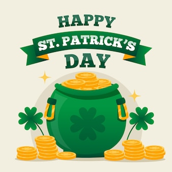 Pot with coins for st. patricks day