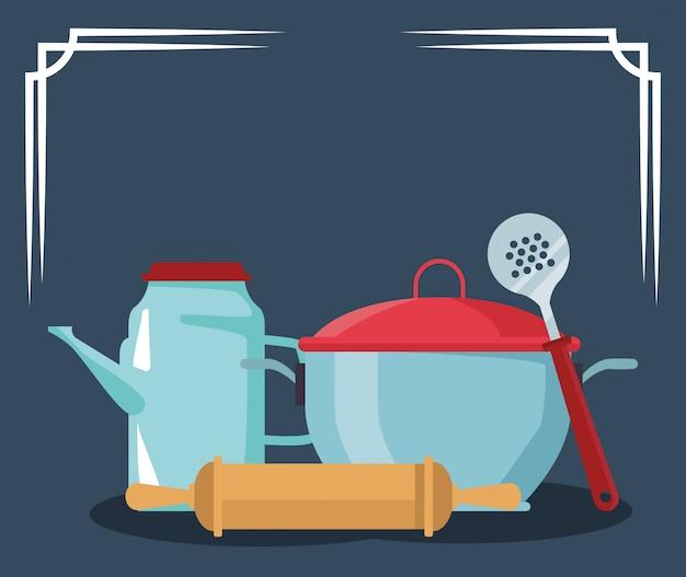 Pot with tea pot and kitchen utensils