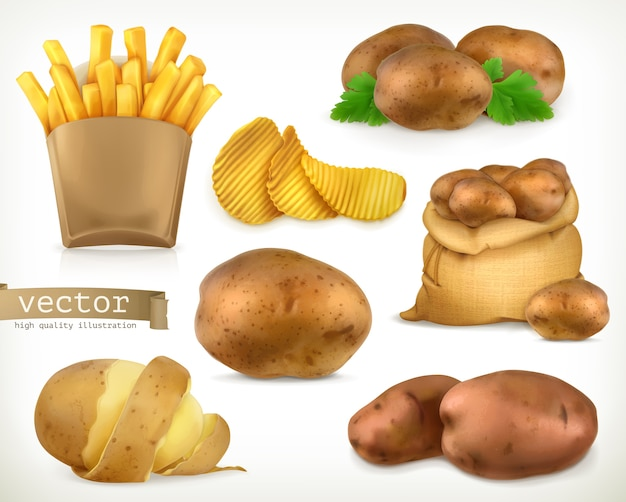 Картофель и жареные чипсы. набор овощных иллюстраций