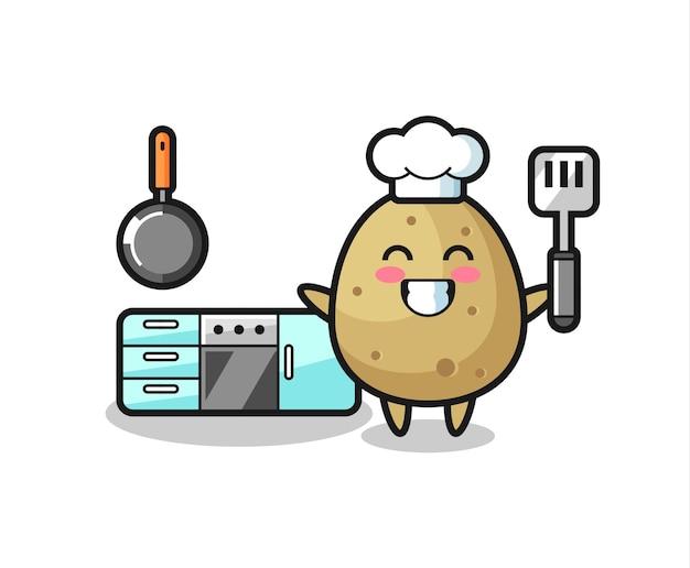 요리사로서의 감자 캐릭터 삽화는 요리를 하고 있고, 티셔츠, 스티커, 로고 요소를 위한 귀여운 스타일 디자인