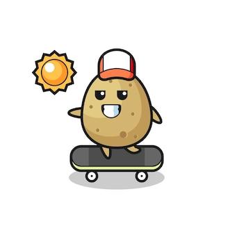 감자 캐릭터 삽화는 스케이트보드를 타고, 티셔츠, 스티커, 로고 요소를 위한 귀여운 스타일 디자인