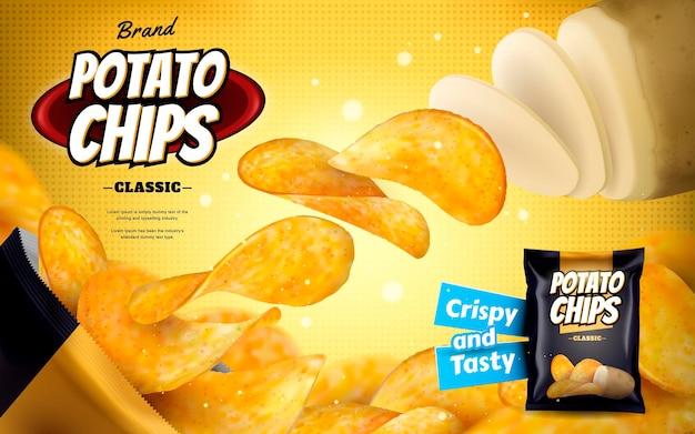 감자 칩 광고, 3d 그림에서 노란색 하프 톤 표면에 고립 된 호일 가방에서 밖으로 날아 클래식 맛 칩