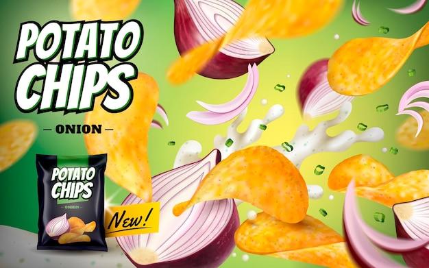 감자 칩 광고, 3d 그림에서 녹색 표면에 고립 된 보라색 양파와 요구르트와 함께 공중에서 비행하는 맛있는 노련한 칩