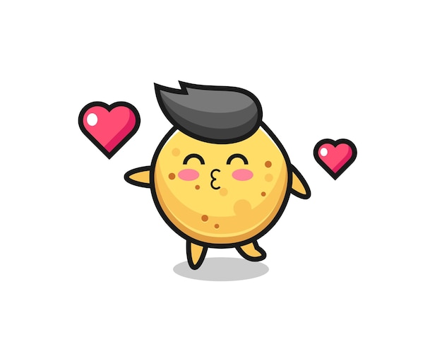 Potato chip character cartoon with kissing gesture , cute design