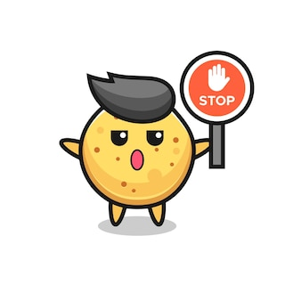 Potato chip character illustration holding a stop sign , cute design