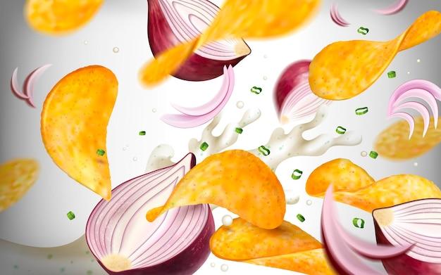 감자 칩 표면, 3d 그림에서 보라색 양파와 요구르트와 함께 공중에서 날아 맛있는 노련한 칩
