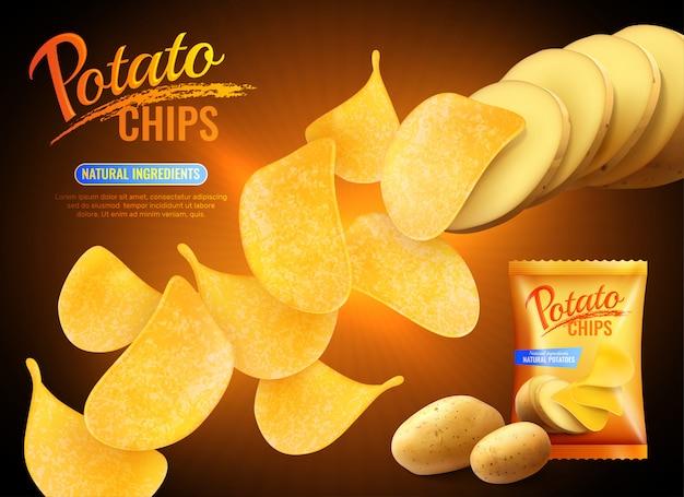 Рекламная композиция с картофельными чипсами с реалистичными изображениями чипсов, натурального картофеля и пачки
