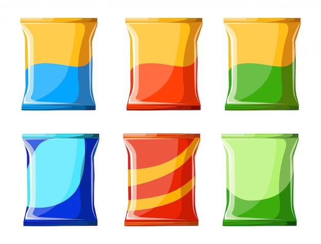 감자 칩 컬렉션. 그림 칩 건강에 해로운 음식 그림 칩 팩 가방 패키지 배경에 대한 준비 스타일 신선한 만화 다른 웹 사이트 페이지 및 모바일 앱 디자인