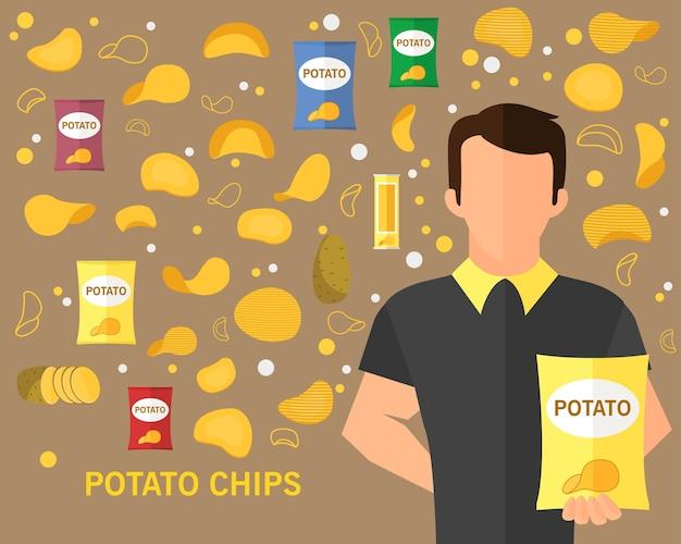 Potato chips concept background