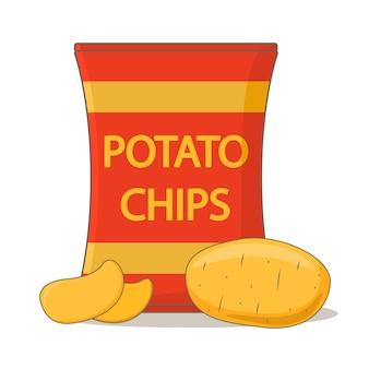 Картофельные чипсы пакет мешок. быстрое питание.