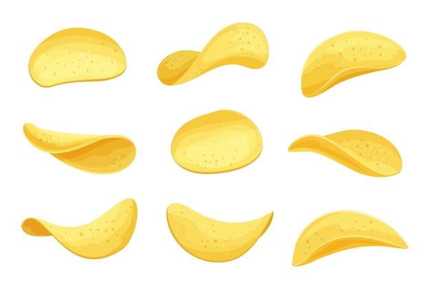 Картофельные чипсы набор иллюстрации