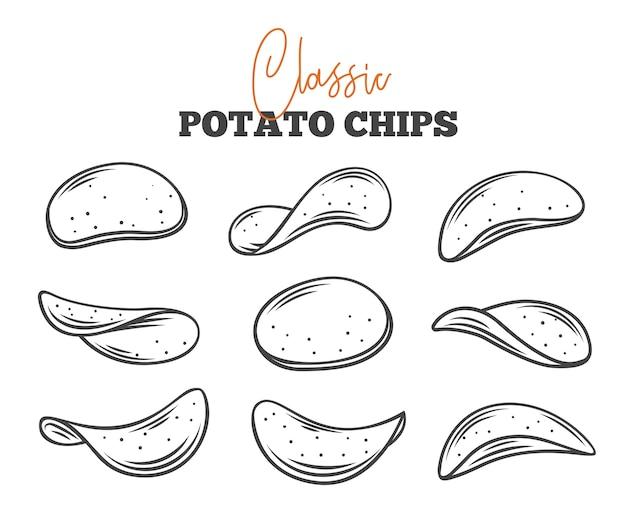 Картофельные чипсы набор наброски иллюстрации