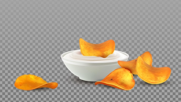 Potato chips snack with mayonnaise sauce vector. tasty crunchy chips slices dipping in delicacy creamy liquid, unhealthy high-calorie meal. fried fat fast food template realistic 3d illustration